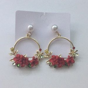 Red Lucite Flowers Dangle Gold Plated Earrings